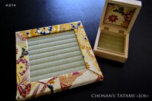 美しい金襴ヴィンテージ着物帯ミニ畳と桐箱畳のセット