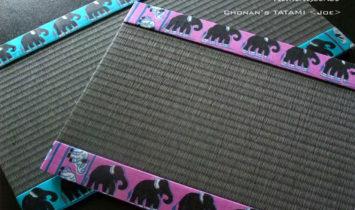 スリランカ製シルク 手織りシルク ミニ畳 ゾウ柄
