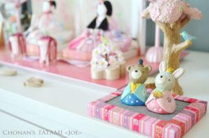 ピンク色の友禅和紙を使ったかわいいミニ畳