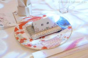 結婚式席札の下に敷く唐草模様のミニ畳