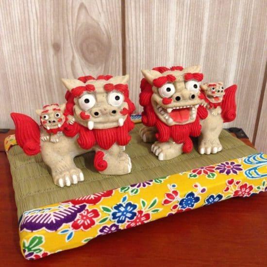 沖縄 琉球 紅型プリント布を使ったミニ畳
