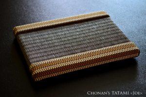 金襴甲冑組紐と栗色の和紙製畳表を使ったミニ畳