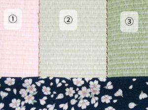 桜柄のちりめん生地と和紙製畳表のご提案例
