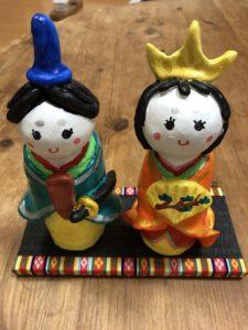 可愛い手作り雛人形とミニ畳